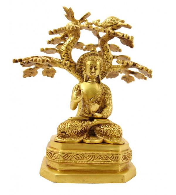 Handicraft Brass Buddha Sitting under Tree 9 Inch