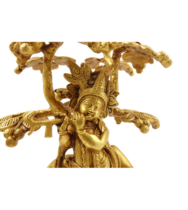 Handicraft Brass Krishna with Cow under Tree 10 Inch
