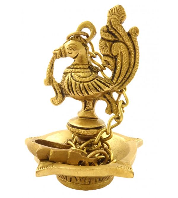 Handicraft Brass Hanging Peacock Lamp