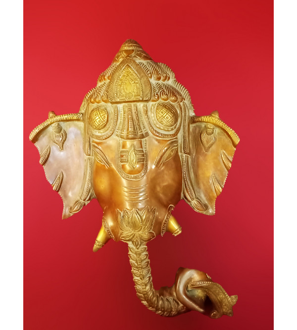 Ganesh Mask Handcrafted In Brass