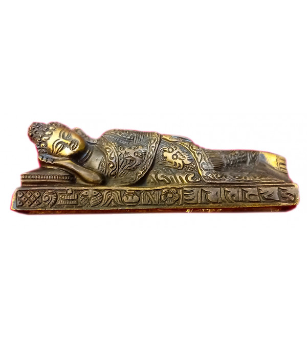 Brass  Buddha sleeping fine work 6 inches