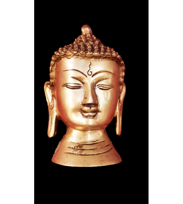 Buddha Head Handcrafted In Brass Size 5 Inches
