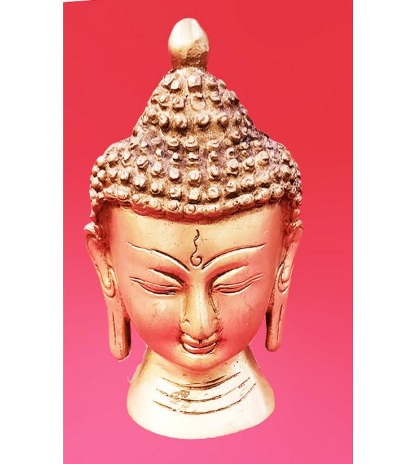 BRASS OXDY BUDDHA HEAD  5 INCH FINE