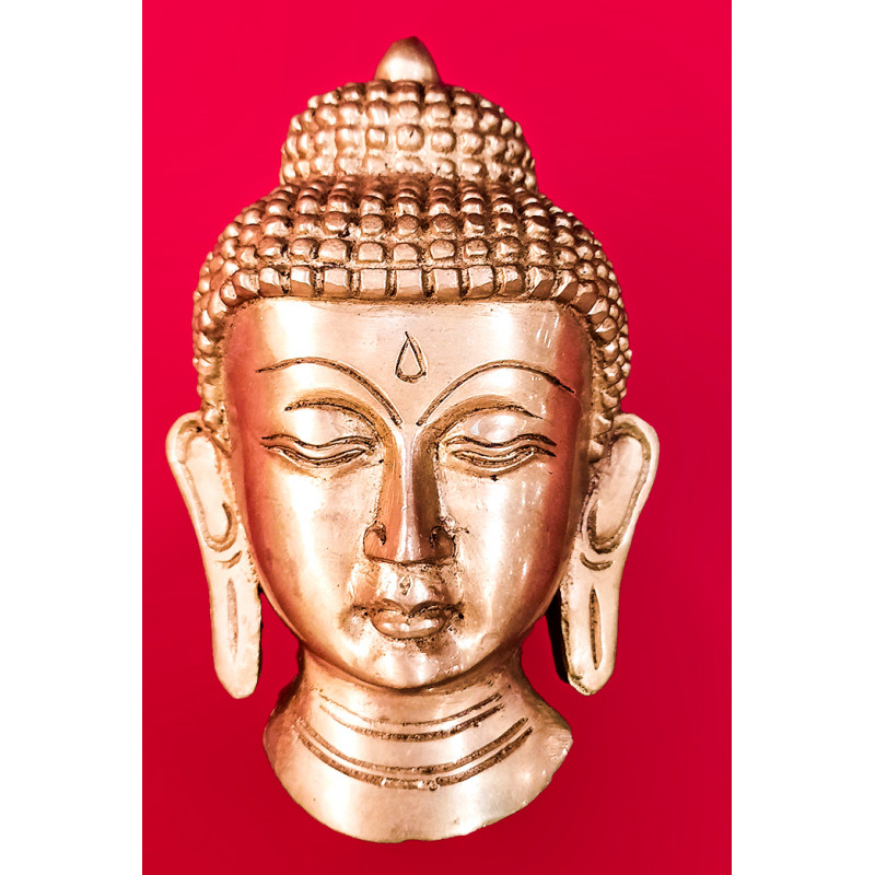 Buddha Mask Handcrafted In Brass Size 5 Inches