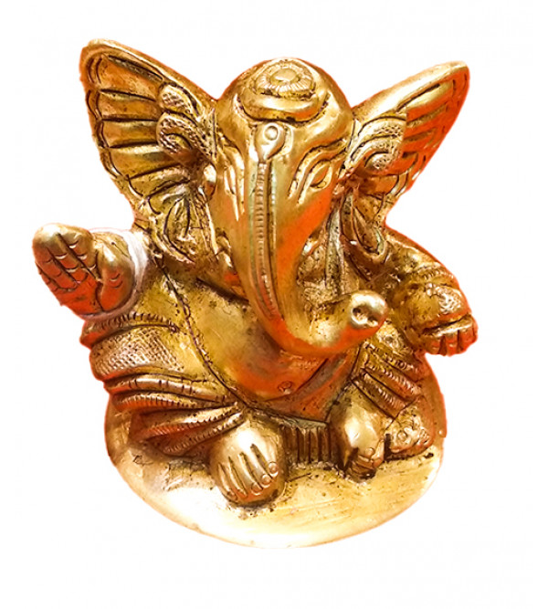 BRASS GANESH BIG EAR ROUND BASE 2 PCS