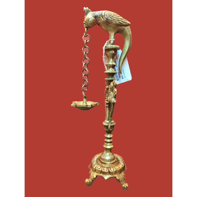 Parrot Lamp Handcrafted In Brass Size 12 Inches