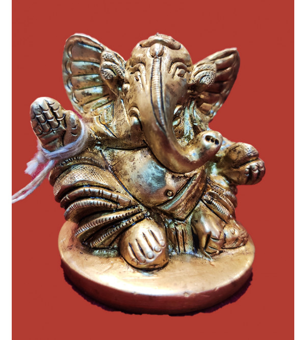 Ganesh With Round Base Handcrafted In Brass