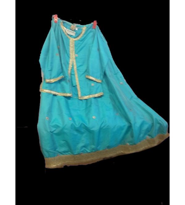 Plain  Silk Lehenga Choli Set Size 10 To 12 Years