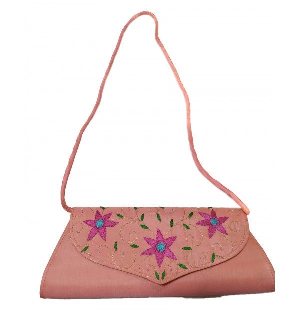 CCIC Silk Evening Bag With Sling And Assorted Designs Size 9x5 Inch