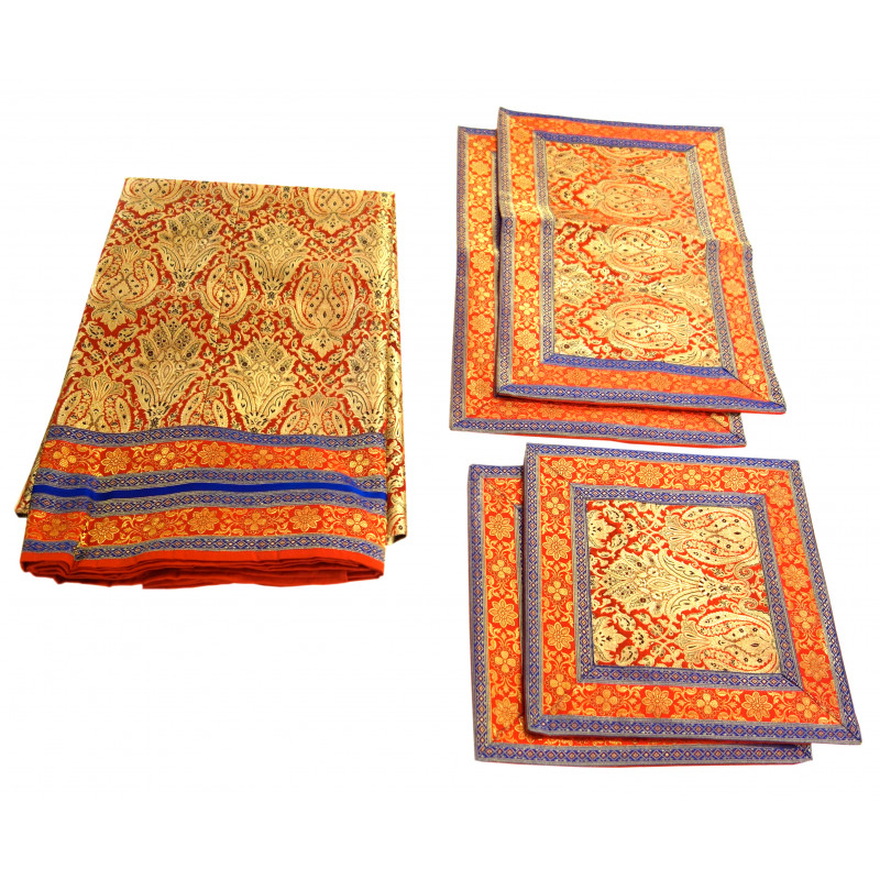 BANARAS ZARI BROCADE BEDCOVER SET ASSORTED