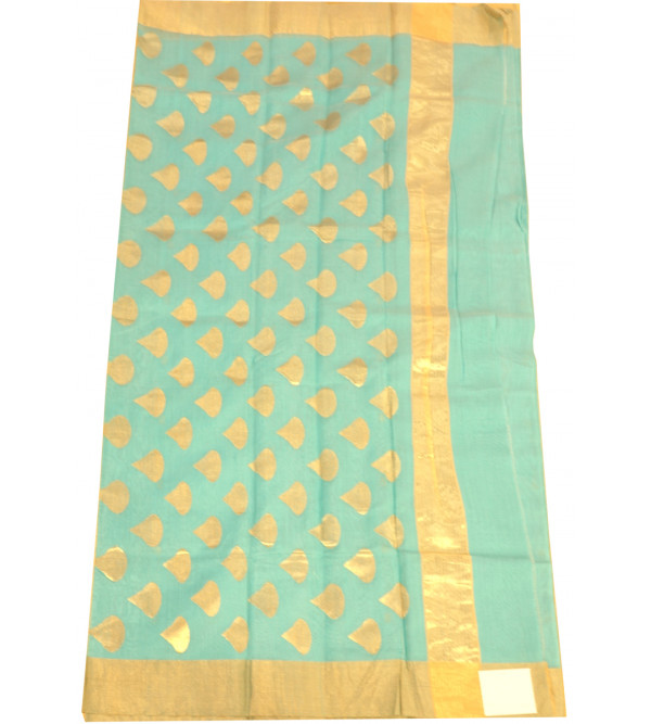 SAREE CHANDERI ZARI BUTA WITH BLOUSE 3 INCH ZARI BORDER