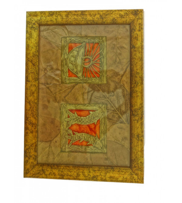 Handicraft Dhokra Panel 8x5 Inch Leaf Mount Assorted Frame