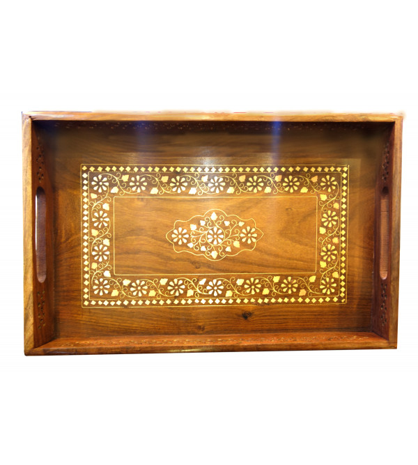 TRAY COPPERBRASS INLAID  SHEESHAM WOOD