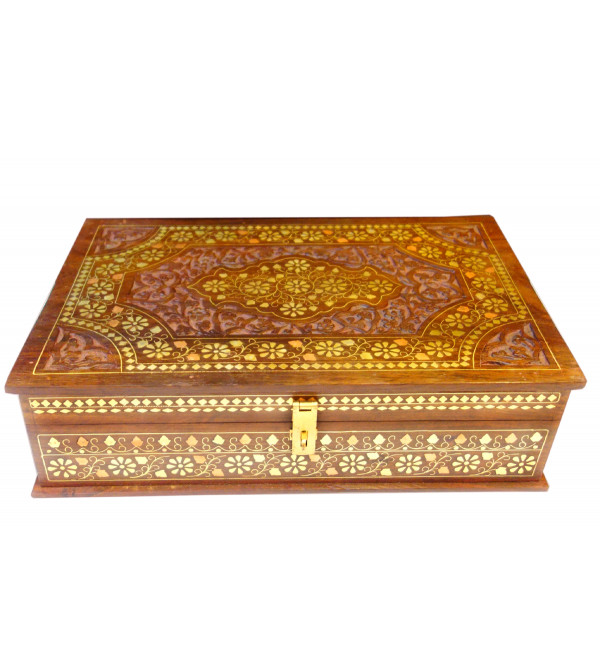 BOX BC INLAID CARVED  SHEESHAM WOOD