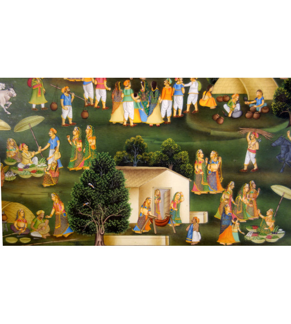 MINIATURE PAINTING VILLAGE SCENE 30X20 INCH  WITH FRAME