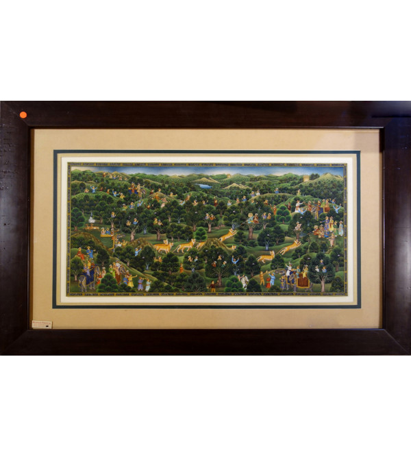 MINIATURE PAINTING JANGAL SCENE 30X20 WITH FRAME
