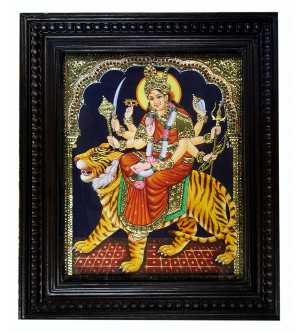 THANJAVUR PAINTING 15X12 DURGA DEVI NATURAL COLOR
