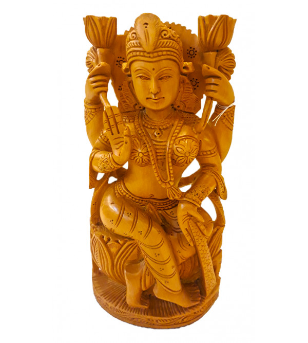 GOD FIGURE CARVED KADAM WOOD GODESS LAXMI 8 INCHES