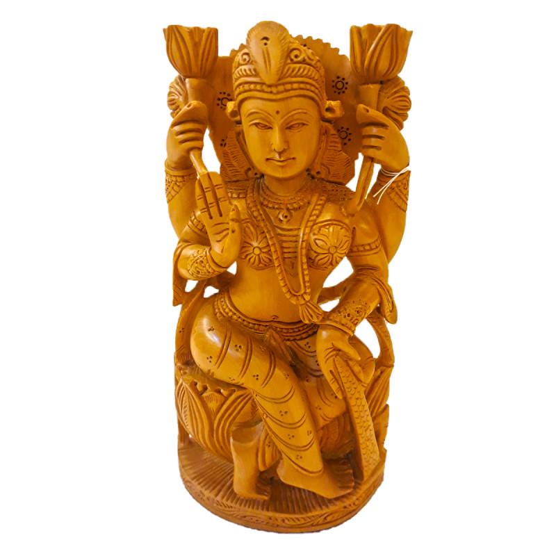 Kadamba Wood Handcrafted Carved Figure of Goddess Laxmi