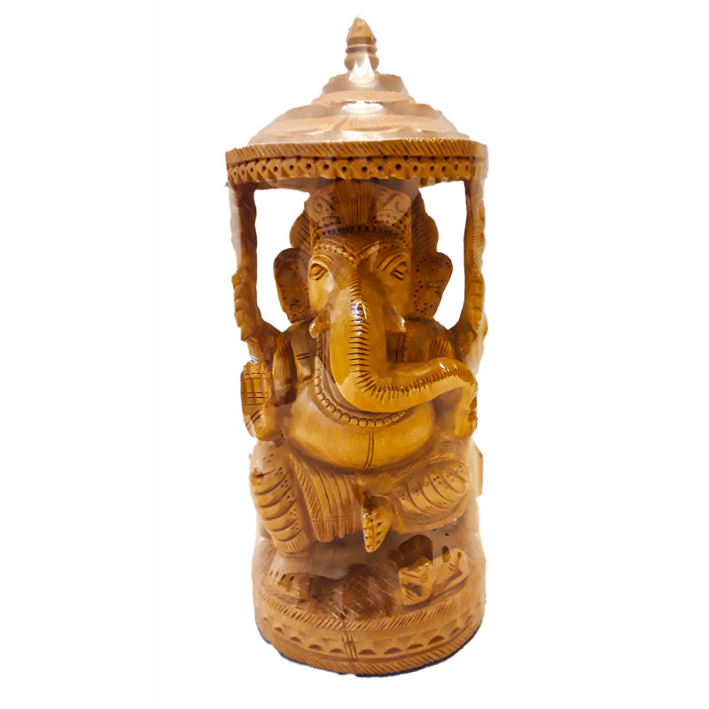 GANESH CHATTEROPEN CARVED KADAM WOOD 9 INCH