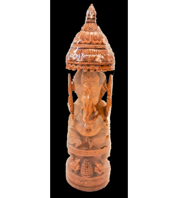 Sandalwood Handcrafted Carved Lord Ganesha Figure with Open Chhatra