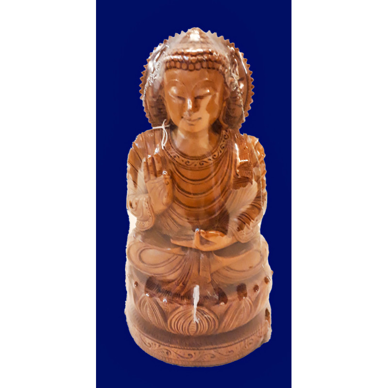 Sandalwood Handcrafted Carved Sitting Lord Buddha Figure