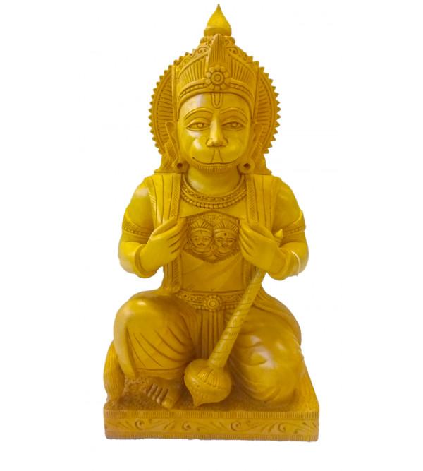 Kadamba Wood Handcrafted Carved Sitting Figure of Lord Hanuman