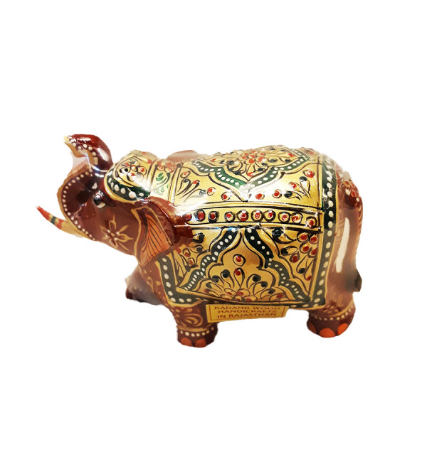 Kadamb Wood Handcrafted Embossed and Painted Elephant