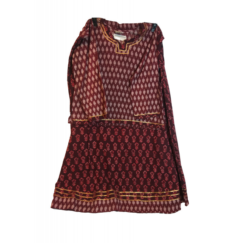 Cotton Stitched Saree With Blouse Size 10 To 12 Year