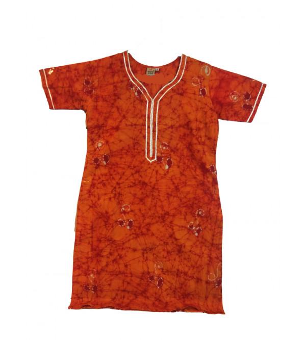 Cotton Batik Printed Long Kurta For Girls Size 10 to 12 Year