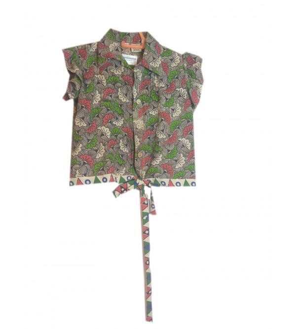 Cotton Kalamkari Printed Girls Top Size 6 To 8 Year