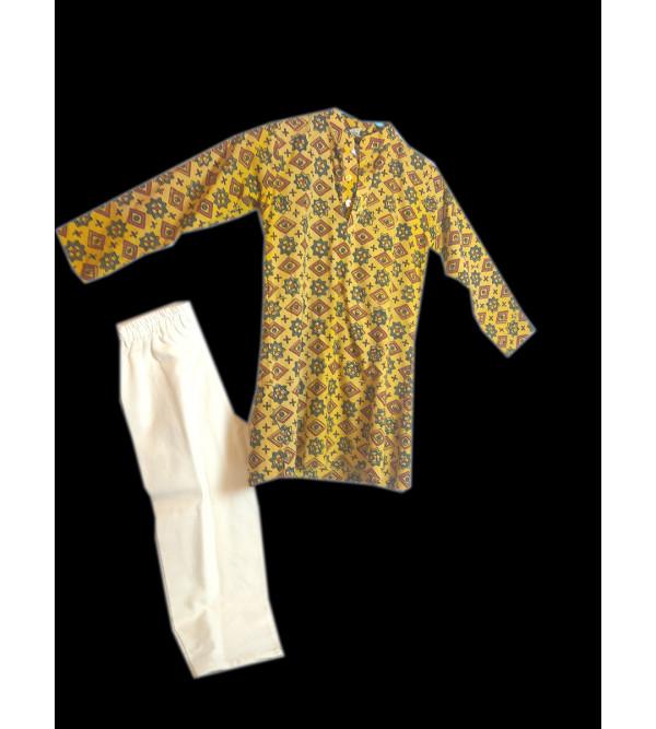 Cotton Ajark Printed Boys Kurta Pajama Set Size 4 to 6 Year