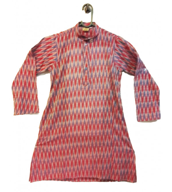 Cotton Ikat Kurta Pajama Set Size 6 to 8 Yr