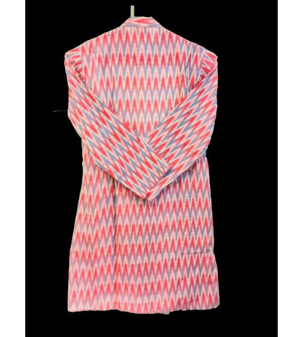 Cotton Ikat Kurta Pajama Set Size 6 to 8 Yr