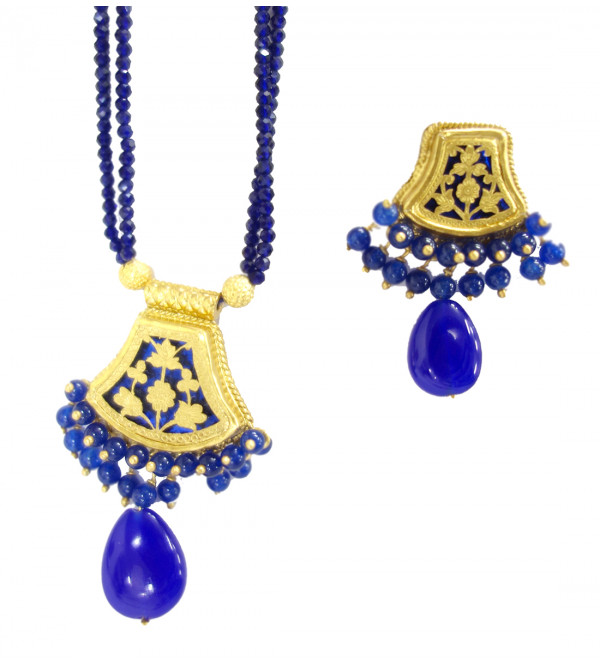 HANDICRAFT ASSORTED DESIGNS AND COLOR THEWA NECKLACE SET GOLD 0.9 SL 10 LB 1200