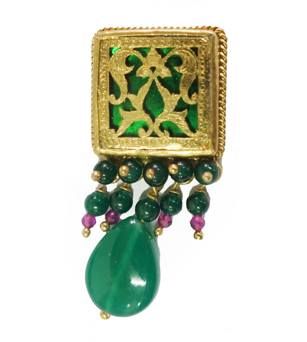 HANDICRAFT ASSORTED DESIGNS AND COLOR THEWA NECKLACE SET GOLD 2 SL 15 LB 2000