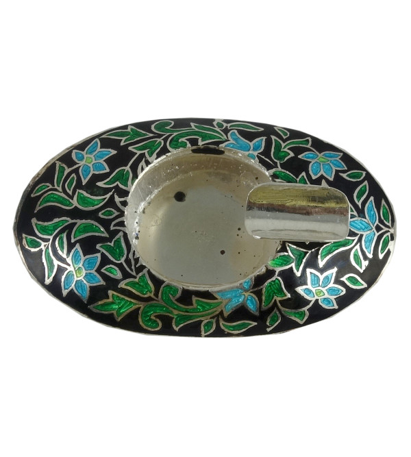 Handcrafted Silver Meenakari Ashtray Size 2x1.5inch