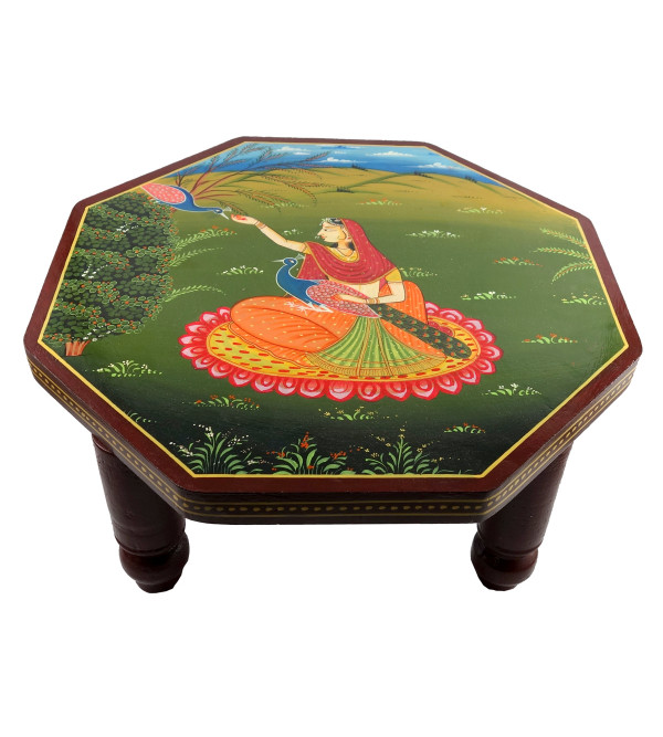 HANDICRAFT WOODEN ARTICLES CHOWKI 14X14 INCHES