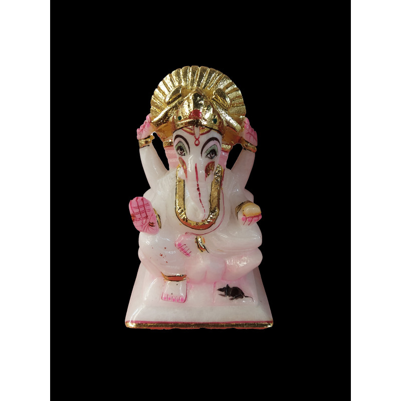 Alabaster Ganesh With Gold Painting Size 6 Inch