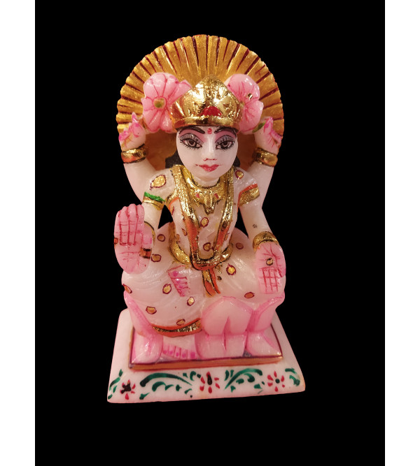 Marble Carved With Golden Painting Laxmi Statue Size 7 Inch