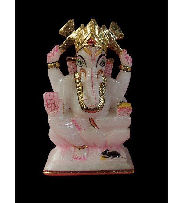 Alabaster Ganesh With Gold Painting Size 7 Inch