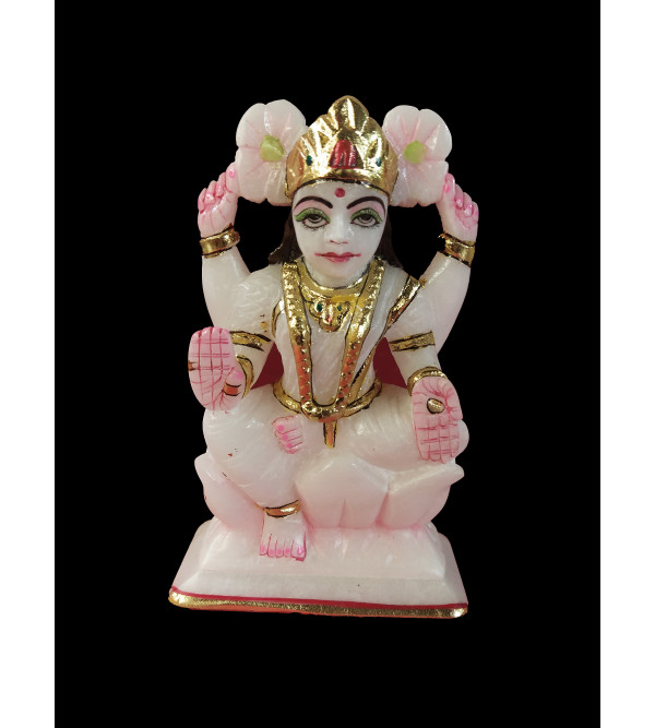 Marble Carved With Golden Painting Laxmi Statue Size 6 Inch