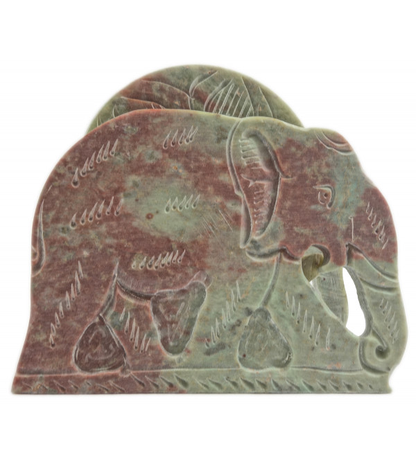 Handicraft Soft Stone Elephant Shape Coaster Set