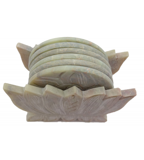 Handicraft Soft Stone Lotus Shape Coaster Set