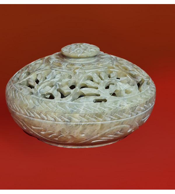 Handicraft Soft Stone Round Shape Box size 4 Inch