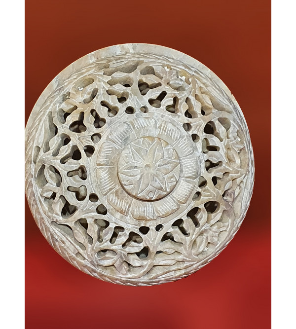 Handicraft Soft Stone Round Shape Box 4 Inch