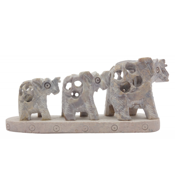 Handicraft Soft Stone Carved 3 Elephant