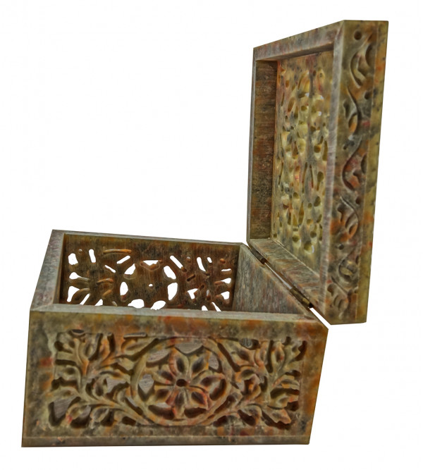 Handicraft Soft Stone Box 4x4x2.5 Inch