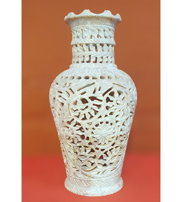 Handicraft Soft Stone Flower Vase 8  inch