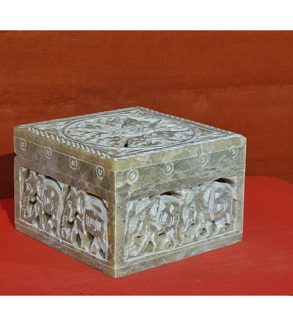 Soap stone jali carved box 4x4x2.5 inch